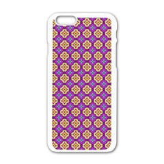 Purple Decorative Quatrefoil Apple Iphone 6 White Enamel Case