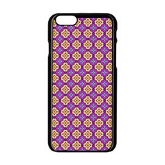 Purple Decorative Quatrefoil Apple iPhone 6 Black Enamel Case