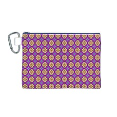 Purple Decorative Quatrefoil Canvas Cosmetic Bag (Medium)