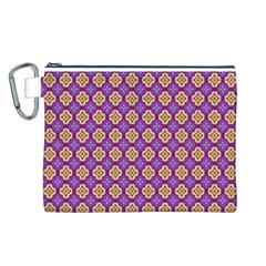 Purple Decorative Quatrefoil Canvas Cosmetic Bag (Large)