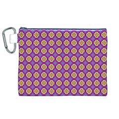 Purple Decorative Quatrefoil Canvas Cosmetic Bag (XL)