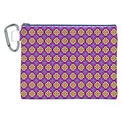 Purple Decorative Quatrefoil Canvas Cosmetic Bag (XXL)