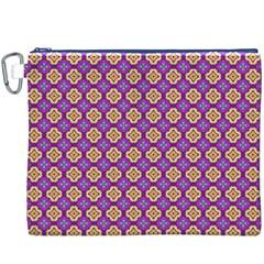 Purple Decorative Quatrefoil Canvas Cosmetic Bag (XXXL)