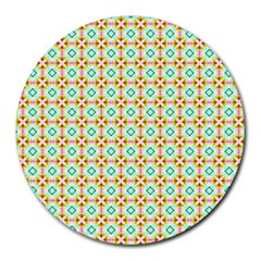 Aqua Mint Pattern 8  Mouse Pad (round)