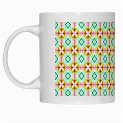 Aqua Mint Pattern White Coffee Mug