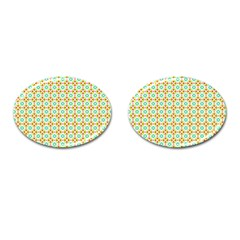 Aqua Mint Pattern Cufflinks (oval)