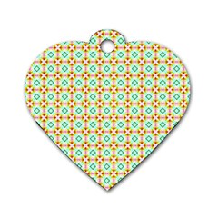 Aqua Mint Pattern Dog Tag Heart (two Sided)