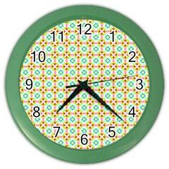 Aqua Mint Pattern Wall Clock (color)