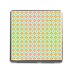 Aqua Mint Pattern Memory Card Reader With Storage (square)