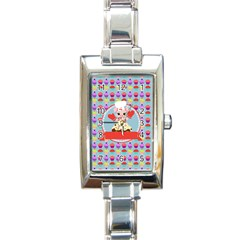 Cupcake With Cute Pig Chef Rectangular Italian Charm Watch