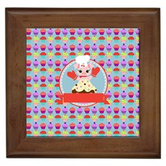 Cupcake With Cute Pig Chef Framed Ceramic Tile