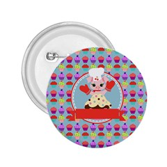 Cupcake With Cute Pig Chef 2 25  Button