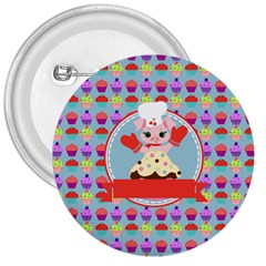 Cupcake With Cute Pig Chef 3  Button