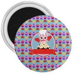 Cupcake With Cute Pig Chef 3  Button Magnet