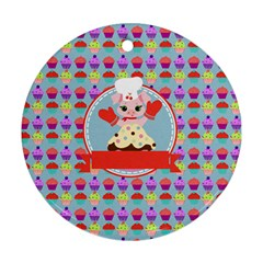 Cupcake With Cute Pig Chef Round Ornament