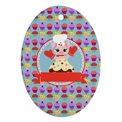 Cupcake With Cute Pig Chef Oval Ornament