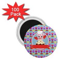 Cupcake With Cute Pig Chef 1 75  Button Magnet (100 Pack)