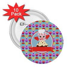 Cupcake With Cute Pig Chef 2 25  Button (10 Pack)