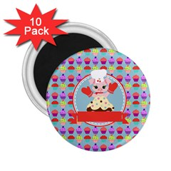 Cupcake With Cute Pig Chef 2 25  Button Magnet (10 Pack)