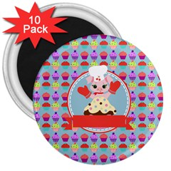Cupcake With Cute Pig Chef 3  Button Magnet (10 Pack)