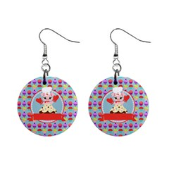 Cupcake With Cute Pig Chef Mini Button Earrings
