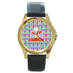 Cupcake With Cute Pig Chef Round Leather Watch (gold Rim)