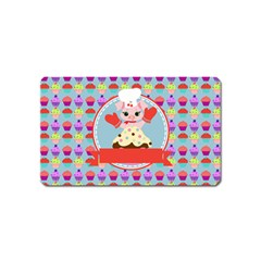Cupcake With Cute Pig Chef Magnet (name Card)
