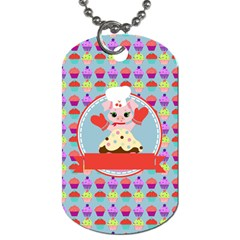 Cupcake With Cute Pig Chef Dog Tag (one Sided)