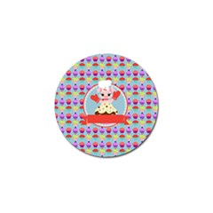 Cupcake With Cute Pig Chef Golf Ball Marker 4 Pack