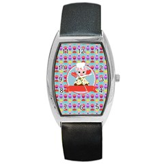 Cupcake With Cute Pig Chef Tonneau Leather Watch