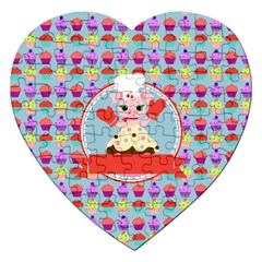 Cupcake With Cute Pig Chef Jigsaw Puzzle (heart)