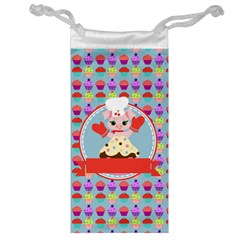 Cupcake With Cute Pig Chef Jewelry Bag