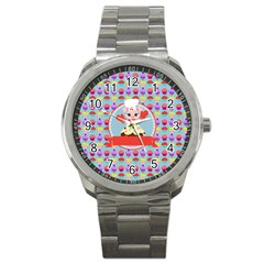 Cupcake With Cute Pig Chef Sport Metal Watch