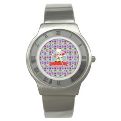 Cupcake With Cute Pig Chef Stainless Steel Watch (slim)