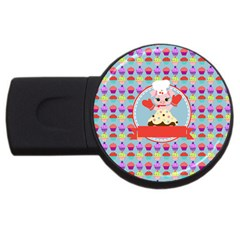 Cupcake With Cute Pig Chef 4gb Usb Flash Drive (round)