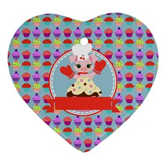 Cupcake With Cute Pig Chef Heart Ornament (two Sides)