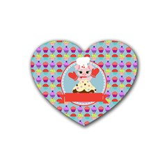 Cupcake With Cute Pig Chef Drink Coasters 4 Pack (heart)
