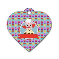 Cupcake With Cute Pig Chef Dog Tag Heart (one Sided)