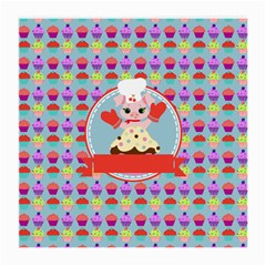 Cupcake With Cute Pig Chef Glasses Cloth (medium, Two Sided)