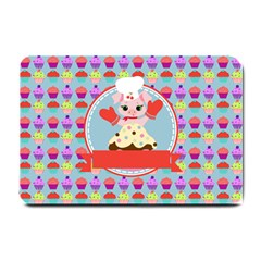 Cupcake With Cute Pig Chef Small Door Mat