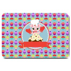Cupcake With Cute Pig Chef Large Door Mat