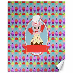 Cupcake With Cute Pig Chef Canvas 11  X 14  (unframed)