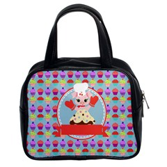 Cupcake With Cute Pig Chef Classic Handbag (two Sides)