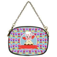 Cupcake With Cute Pig Chef Chain Purse (one Side)