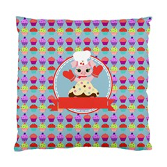 Cupcake With Cute Pig Chef Cushion Case (single Sided)