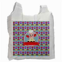 Cupcake With Cute Pig Chef White Reusable Bag (one Side)