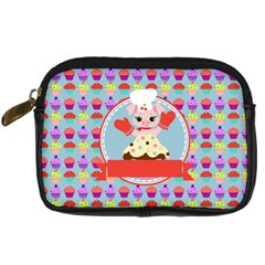 Cupcake With Cute Pig Chef Digital Camera Leather Case