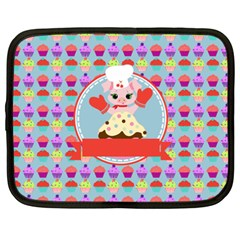 Cupcake With Cute Pig Chef Netbook Sleeve (xxl)