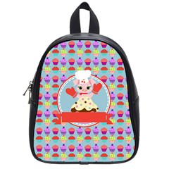 Cupcake With Cute Pig Chef School Bag (small)