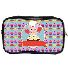 Cupcake With Cute Pig Chef Travel Toiletry Bag (two Sides)